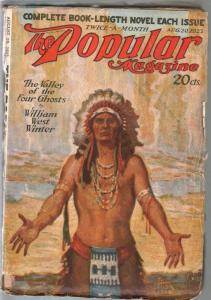 Popular 8/20/1923-Harry T Fisk Indian cover-adventure & mystery pulp-VG