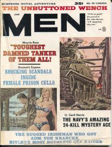 Men 6/1963-Atlas- tank attack cover-WWII-pulp thrills-cheesecake-Gil Cohen-VG