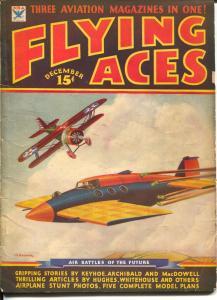 Flying Aces 12/1934-Philp Strange-hero pulp-Donald E Keyhoe-Mayshark-VG