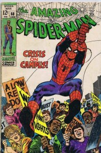 Amazing Spiderman #68 ORIGINAL Vintage 1969 Marvel Comics Crisis on Campus B