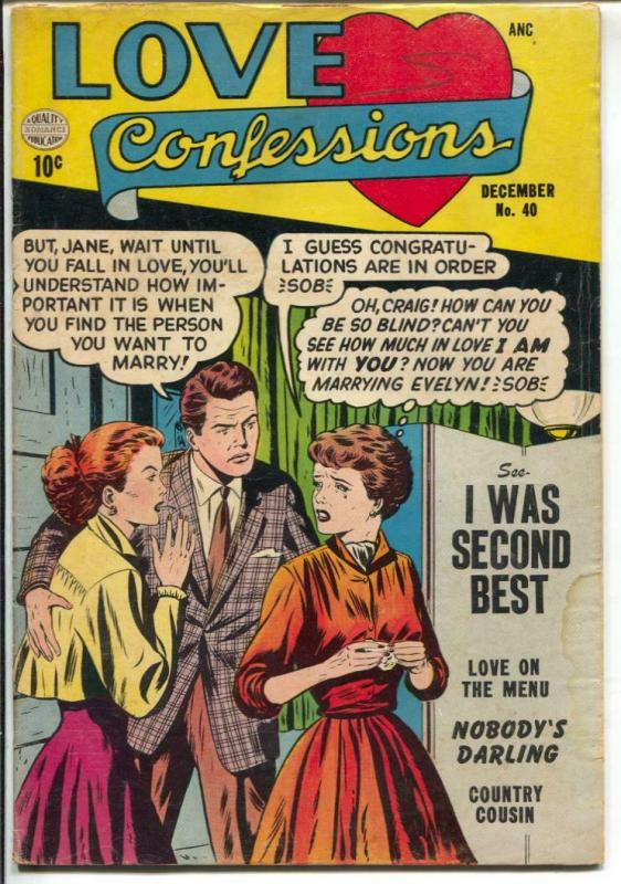 Lover Confessions #40 1954-love triangle cover-nice art-VG-