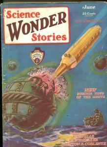 SCIENCE WONDER STORIES #1-06/1929-ROCKET COVER-FRANK R PAUL-vg