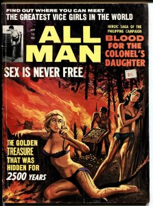 All Man 9/1964-Stanley-Spicy cover-Cheesecake-Pulp magazine