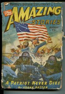 Amazing Stories 8/1943-Ziff-Davis-pulp sci-fi-American flag cover-Patton-FR