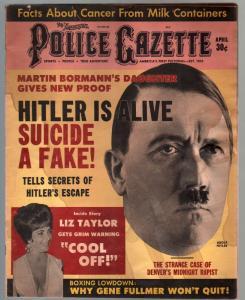 Police Gazette 4/1963-Hitler Is Alive-milk carton cancer-Hitchcock-NHL-G