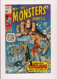 Marvel WHERE MONSTERS DWELL #1 - Cyclops Silver Age VG/F (SRU713)