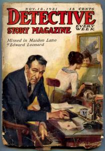 Detective Story Pulp November 12 1921- Missed in Maiden Lane FAIR