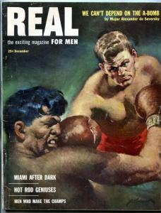 Real Magazine December 1952- Boxing cover- Al Capp- Hot Rod Geniuses