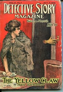 DETECTIVE STORY MAGAZINE-OCT 5 191-SAX ROHMER-JOHNSON MCCULLEY-GREY-good G