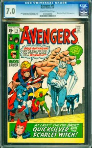 Avengers #75 CGC Graded 7.0 Quicksilver & Scarlet Witch appearance.
