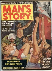 Man's Story May 1962- Commie thumb torture cover- teenage nymphos