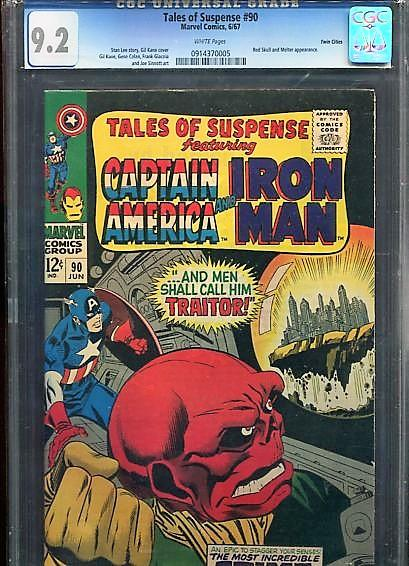 TALES OF SUSPENSE #90  CGC  9.2  WHITE PAGES  (1967) TWIN CITIES PEDIGREE