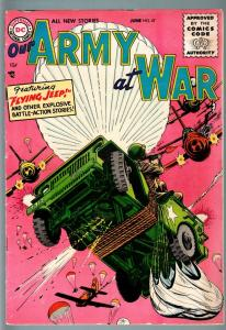 OUR ARMY AT WAR #47 1956-DC WAR COMIC-PARACHUTE COVER-VF- VF-
