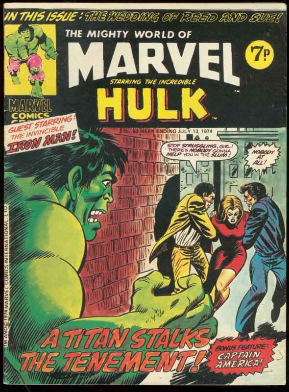 MIGHTY WORLD OF MARVEL #93 1974-INCREDIBLE HULK-BRITISH VG