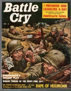 Battle Cry 12/1957-war zone cover-Toma Borden cheesecake-Eisenhower-WWII-VF-