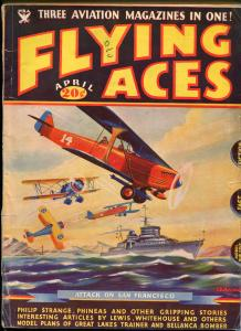Flying Aces 4/1935- bedsheet edition-WWI aviation pulp thrills-rare-VG