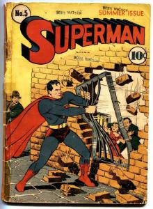 SUPERMAN #5-1940-Golden-Age Superhero DC Comic 4th Lex Luthor
