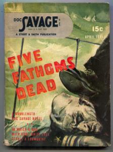 Doc Savage Pulp April 1946- Five Fathoms Dead VG+