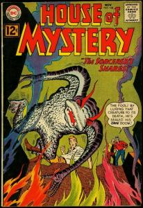 House of Mystery #128 1962- Wild monster cover- DC sci-fi comics FN