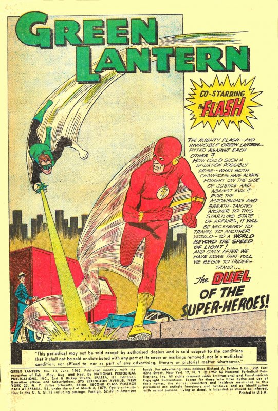 GREEN LANTERN #13 (June1962) 6.5 FN+ ★ FIRST GL & FLASH TEAM-UP!  Gil Kane!!