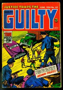 Justice Traps the Guilty #63 1954- Tommy Guns cover- Crime- G/VG