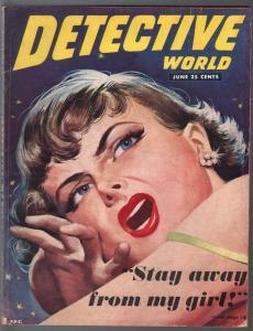 Detective World 6/1951--pulp thrills-con man-murder-crime scene pix-VG
