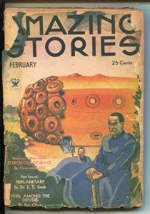 Amazing Stories 2/1934-Rocket cover-Terror Out Of Space-E.E. Smith-Phil Now...