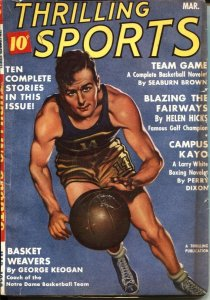 THRILLING SPORTS -- MARCH 1939--HELEN HICKS-GOLF--BASKETBAL--HOCKEY-BOXING--PULP