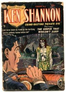 Ken Shannon #3 1952- Zombie cover- Golden Age horror low grade