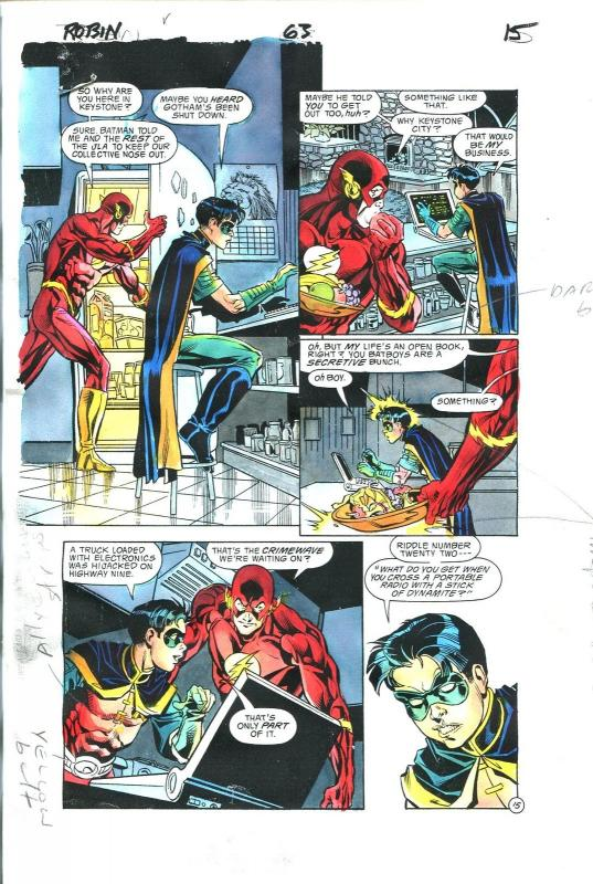 Robin Comics #63 Page 15 Hand Painted Cover Color Guide-comic book art-Flash-VG