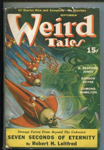 WEIRD TALES 09/1940-RAY QUIGLEY-SKULL COVER-SEABURY QUINN-EDMOND HAMILTON-vg