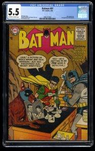 Batman #97 CGC FN- 5.5 Off White to White Joker Appearance.  2nd Bat-Hound!