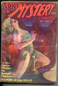 Spicy Mystery 7/1935-Trojan-hooded menace-bondage-lurid pulp thrills-rare-G-