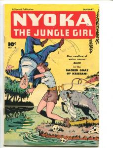 NYOKA THE JUNGLE GIRL #15 1948-FAWCETT-STRANGULATION-BOUND-GAGGED-fn/vf