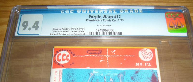 Purple Warp #12 CGC 9.4 tiny print run - highest graded underground comix