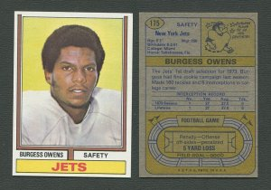 1974 Topps Football / Burgess Owens #175 / ROOKIE  /  NM-MT