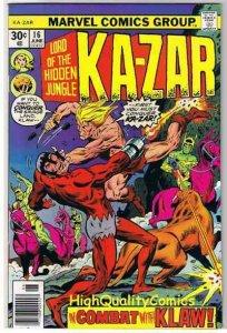 KA-ZAR #16, VF, Lord of Hidden Jungle, Savage Land, 1974, Bronze age