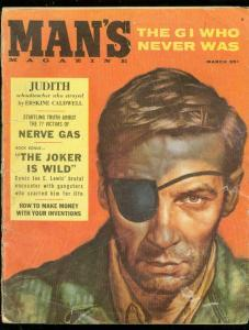 MAN'S MAGAZINE MARCH 1958-EYEPATCH COVER-NERVE GAS G