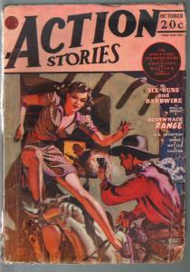 Action Stories 10/1942-Allen Anderson Good Girl Art cover-jungle-western-G