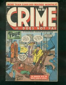 CRIME DOES NOT PAY #59 1948-CHARLES BIRO-LIVING BURIAL- VG