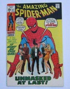 Amazing Spider-Man #87 VF- Spider-Man Unmasked Marvel Bronze Age Comic 1970