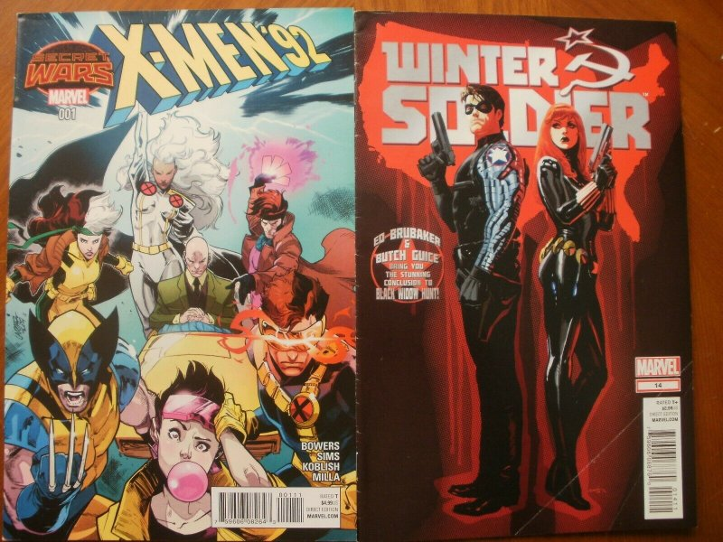2 Marvel Comic: Secret Wars X-MEN '92 #1 (2015) & WINTER SOLDIER #14 (2013 Bucky