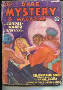 Dime Mystery 11/1933-Baumhofer weird menace torture cover-pulp horror-Hugh B ...
