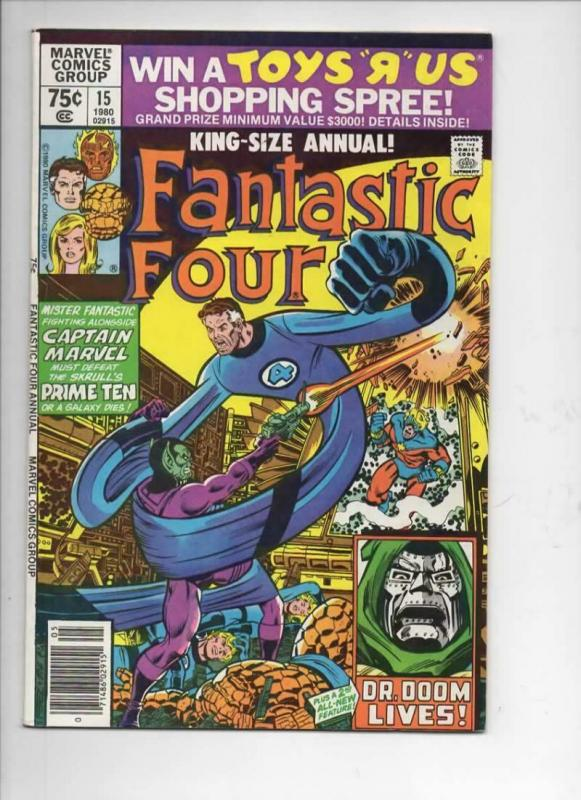 FANTASTIC FOUR #15 Annual, VF/NM, Captain Marvel, Dr Doom, 1961 1980, Marvel