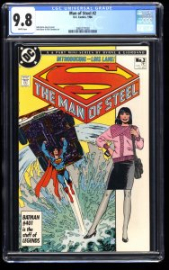 Man of Steel #2 CGC NM/M 9.8 White Pages