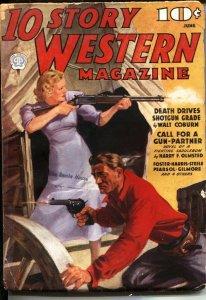10 STORY WESTERN  JUNE 1937--GOOD GIRL ART COVER--WALT COBURN--PULP