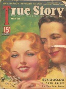 True Story 3/1935-Zoe Mozert cover-Jean Harlow-Sing Sing Death House-G