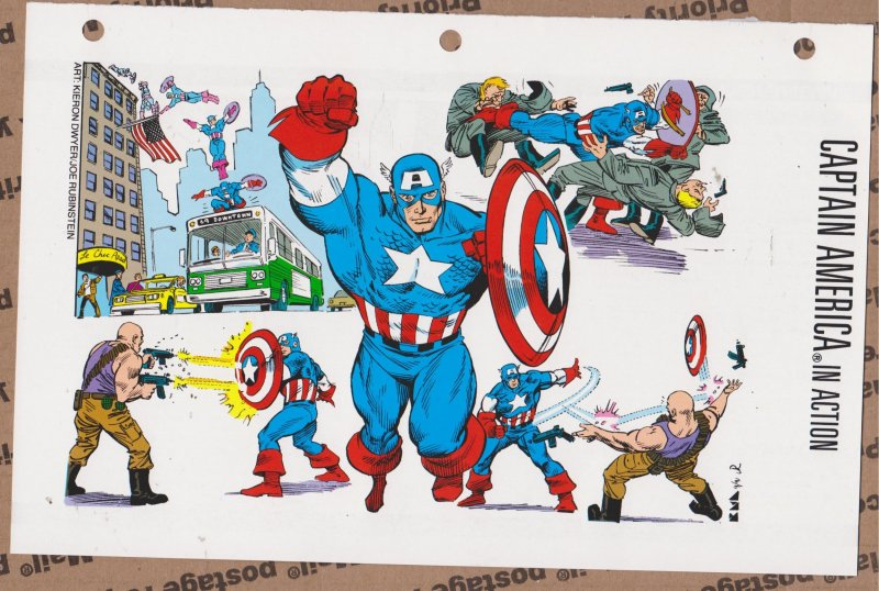 Official Handbook of the Marvel Universe Sheet - Captain America in Action
