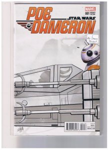 Star Wars Poe Dameron #001 VF/NM  Incentive Celebration Sketch Special Price