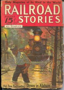 Railroad Stories 8/1935-Munsey-train in flood cover-railroad pulp fiction-G-